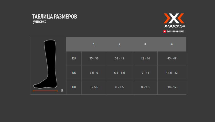 Таблица размеров носки X-Socks unisex