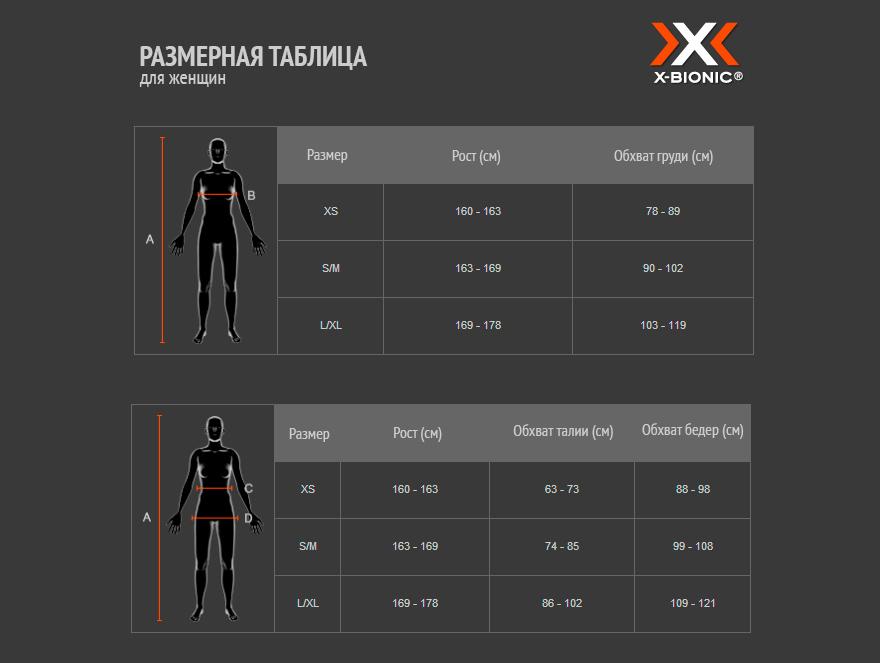 Женская таблица размеров X-Bionic