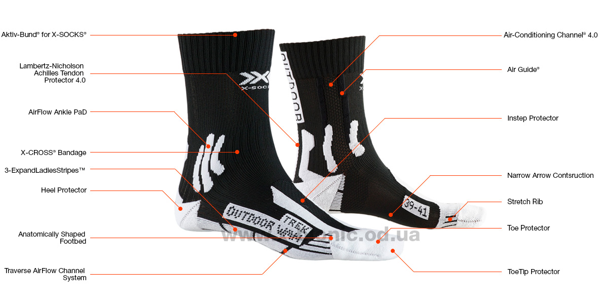 Женские носки X-Socks® Trek Outdoor 4.0 - Texnology