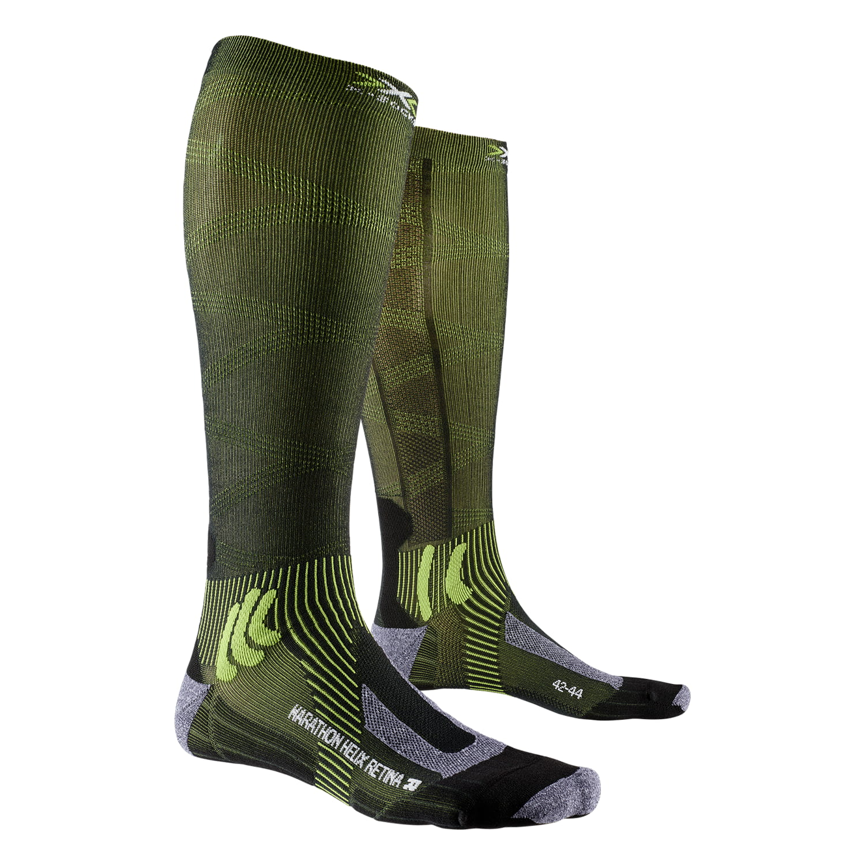 Фото 1 - Носки X-SOCKS® Marathon Helix Retina 4.0, Цвет: B035 – Black Melange/Effektor Green